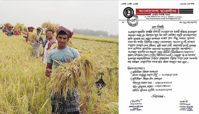 কৃষকের ধান কেটে দিতে ছাত্রলীগ নেতাকর্মীদের নির্দেশ শোভন-রাব্বানীর