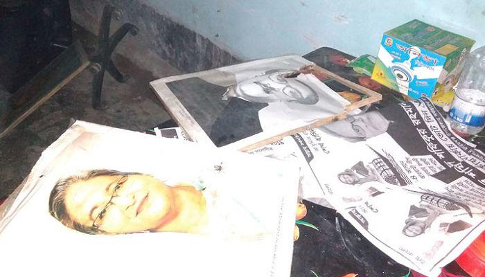 আ'লীগ অফিসে বঙ্গবন্ধু ও প্রধানমন্ত্রীর ছবি ভাংচুর