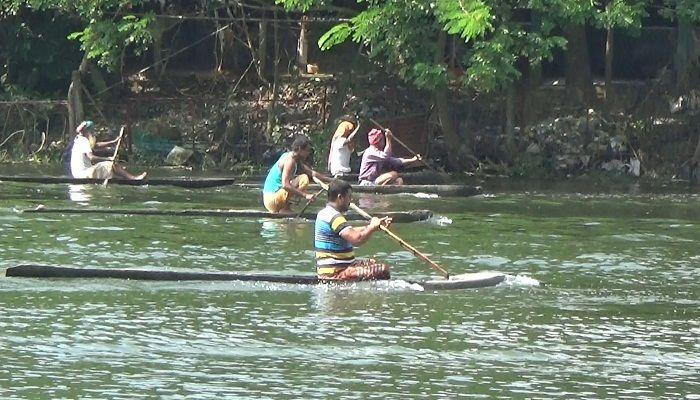ঝিনাইদহের নবগঙ্গা নদীতে ব্যতিক্রমী ডোঙা বাইচ প্রতিযোগিতা